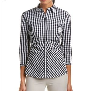 Lafayette 148 Checkered Leigh Button Down Top 14